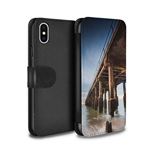 Stuff4 Coque/Etui/Housse Cuir PU Case/Cover pour Apple iPhone X/10 / Structure Jetée Design / Bord Mer Anglaise Collection Structure Jetée
