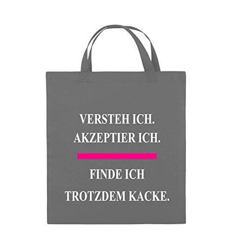 Comedy Bags - Versteh ich. Akzeptier ich. Finde ich trotzdem kacke. - Jutebeutel - kurze Henkel - 38x42cm - Farbe: Schwarz / Weiss-Neongrün Dunkelgrau / Weiss-Pink
