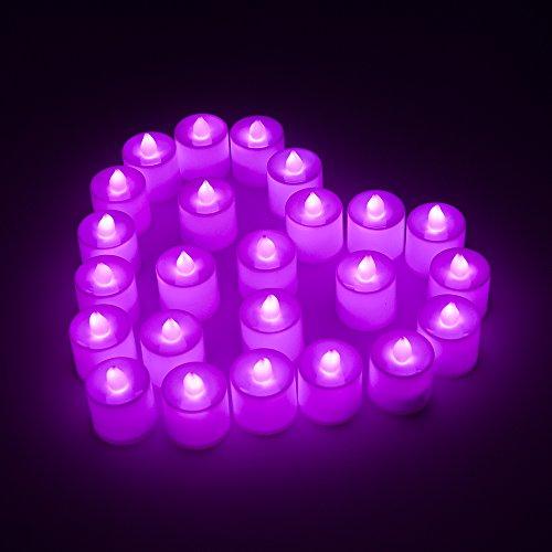 MAXAH® LED velas pequeñas 24er Set sin llama velas eléctricas con baterías, velas de iluminación estado de ánimo como para vacaciones Navidad / Año Nuevo / cumpleaños / Día de San Valentín / de la boda, etc. (púrpura)