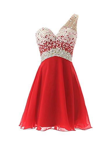 Dresstells, A-ligne / princesse une épaule robe courte de cocktail pailletée Jaune