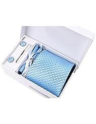 Coffret Cadeau Séoul - Cravate bleu ciel à losanges et petits points noirs sur fond imprimé de fines rayures bleu ciel et bleu azur, boutons de manchette, pince à cravate, pochette de costume