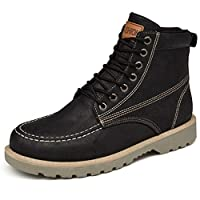 Mens Snow Boots Lace-Up Leather Martin Boots Waterproof Work Safety Ankle Boots Casual Shoes in Black/Green/Gray