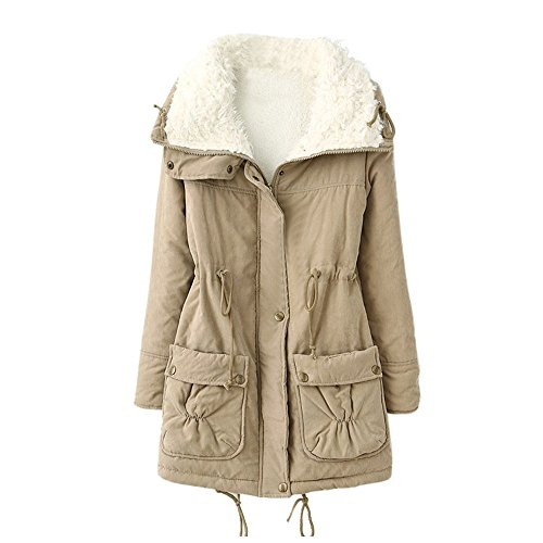 JURTEE Damen 2019 Jacken, Frauen Warme Lange Mantel Pelzkragen Jacke Winter Parka Outwear Mäntel(Medium,Beige)