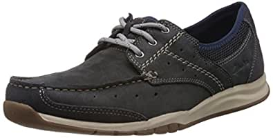 Clarks Men's Ramada English Blue Leather Sneakers - 8 UK