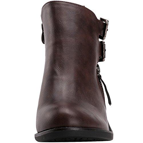 Alexis Leroy Ankle-Boots mit Absatz und Reißverschluss Damen Kurzschaft Stiefel Braun