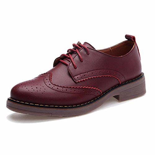 Moonwalker Scarpe Stringate Basse Oxford Donna Brogue ( EUR 35,Rosso)