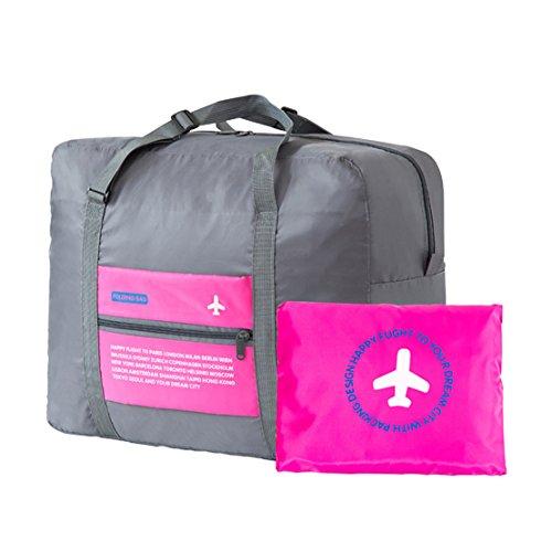 Tragbares Handgepäck Faltbare Reisetasche, 32L Faltbare Reise-Gepäck Taschen Leichtgewicht Sporttaschen für Sports Turnhalle Urlaub (orange) rose