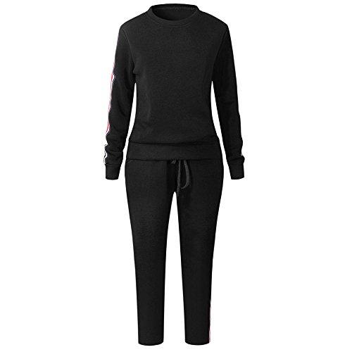 Younthone Bekleidung,josen Damen,Frauen Trainingsanzug Hoodies Sweatshirt Top Hosen Sets Sport Wear Freizeitanzug,19070817 (L,Schwarz)