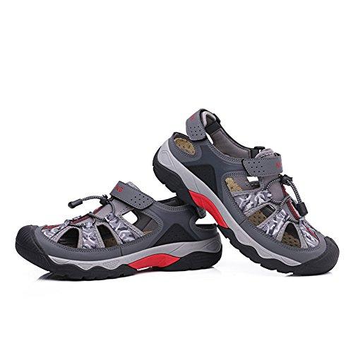 Gomnear Pour des hommes Des sandales Hommes Été Sandale Mode Pêcheur Rond Teo Plage Pantoufle Chaussures Avec velcro pratique Gris