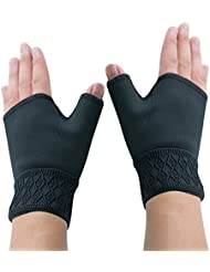 Vinmax Fingerless Elastic Mitten Support Gloves Arthritis Carpal Tunnel Weak Airflow Hand Wrists Aching Compression Black 1Pair (Small Size)