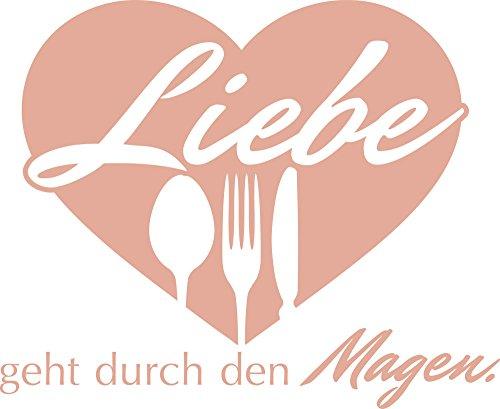 Graz Design® Wandtattoo Wand-Spruch für Küche Liebe geht durch den Magen | Wand-Worte für Esszimmer Restaurant und Küchen-Rückwände | selbstklebende deutsche Folie | in 47 Farben (70x57cm // 958 baby doll)