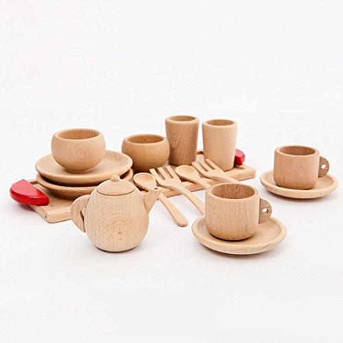 Coskiss Holz Buche Baby Besteck Tasse Tray Baby Geschenk Set Portable hölzerne Montessori Spielzeug inspiriert Kleinkind vorgeben Spiel Küche Perlen (Geschirr) (Spielen Küche Baby)