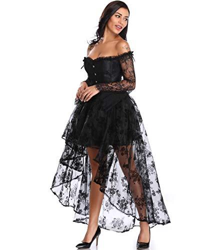 (Miss Moly Steampunk Gothic Korsagenkleid Schwarz Retro Gerichtsstil Corsage Damen Kostüm Kleid Halloween Cosplay mit der Korsett und Rock)