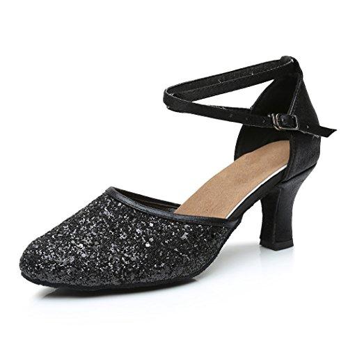 VASHCAMER - Zapatos de Baile de Tacón para Mujer Negro 39