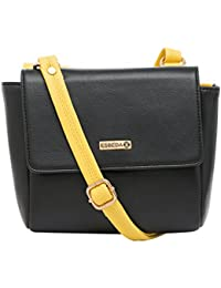 ESBEDA Black-Yellow Solid Pu Synthetic Material Two Sided Slingbag For Women