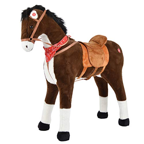 Pink Papaya Plüschpferd XXL 105cm Pferd, Herkules, Fast lebensgroßes Spielpferd zum reiten, Stehpferd XXL, Spielzeug Pferd bis 100kg belastbar - Kinderpferd mit Kleiner Bürste - Lebensgroße Plüsch-pferd