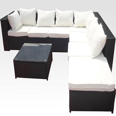 20tlg. Deluxe Gartenmöbel Lounge Set Garnitur Bahamas Sitzgruppe Gartenmöbel Rattan Set Geflecht Polyrattan inkl. Sitzkissen - schwarz von XINRO®