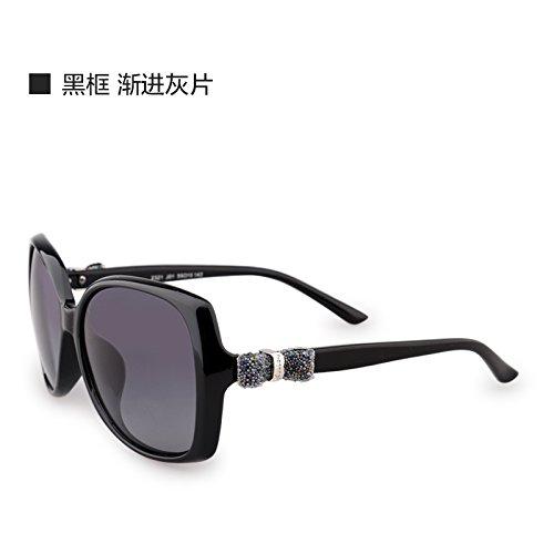 Komny Sonnenbrille weiblichen Polarisierte Sonnenbrillen weiblichen Tide rundes Gesicht Big Frame Brille Fahren Retro Brille Black Frame Progressive Asche