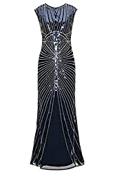 Metme Women's 1920s Vintage Prom Fringed Sequin Long Flapper Roaring Gatsby Dress For Party (S, Navy)