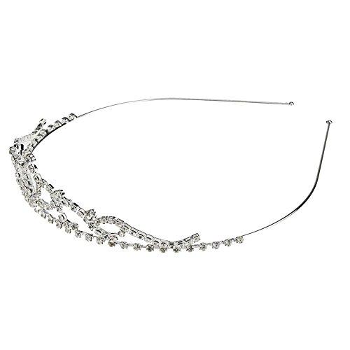 Ecloud Shop Strass Diamant Haarreifen Diadem Krone Silber Metall CHARMS