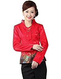 JTC Women Satin Floral Embroidered Flowers Long Sleeve Cheongsam Slim Tang Suit Tops Outwear Coat Red