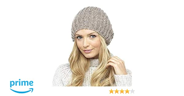 678920759aa Ladies Stretch Double Layer Chunky Rib Knit Slouch Beanie Hat Winter  Accessory (Beige)  Amazon.co.uk  Clothing