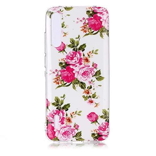 Xiaomi CC9E, Funda de Cuero Luminosa Pintada Funda de Cuero TPU Avanzada del teléfono Inteligente Xiaomi CC9E (Flor Rosa)
