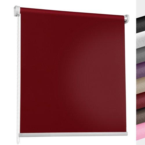 Jago Fenster Rollo Seitenzugrollo Verdunkelungsrollo stufenlos verstellbar mit Klemmhalter ohne Bohren (Farb- und Größenwahl) (80 x 175 cm, Rot)