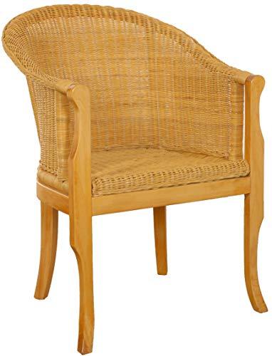 korb.outlet Rattan-Sessel mit Holzbeinen, Sessel aus echtem Rattan - Rattanstuhl Club (Honig)