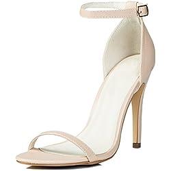 Verstellbare Schnalle High Heel Stilettoabsatz Sandalen Schuhe Pumps Synthetik Kunstleder Gr 36