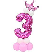 Partido Ballon, Ularma Número Globo De Bebé De La Ducha Niños Celebración De Cumpleaños Globos De Papel (Rosa) (3)