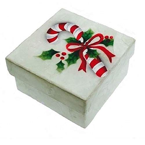 Home and Holiday Shops Candy Cane with Holly Christmas Capiz Jewelery Trinket Keepsake Box Container (Schmuck Cane Candy)