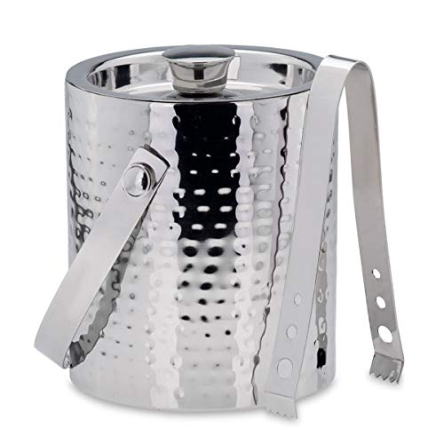 Edelstahl Eiswürfelbehälter gehämmert mit Zange Ø 16 cm Höhe 17 cm