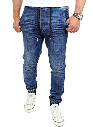 Reslad Jogging-Jeans Männer Freizeit-Hose Casual Style Jeans Jogginghosen Herren Slim Fit Jogger Sweathose Hose RS-2071 Blau S
