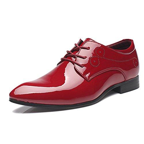 HYLM Scarpe a punta, scarpe casual per gli uomini, scarpe in pelle verniciata stilista britannica, scarpe da sposa Red