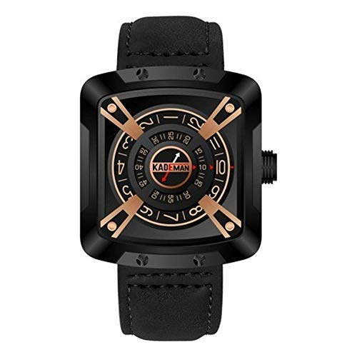 ZhongDa Herren Quarzuhr Einzigartiges Design Rechteckiges Zifferblatt Gürtel Uhr