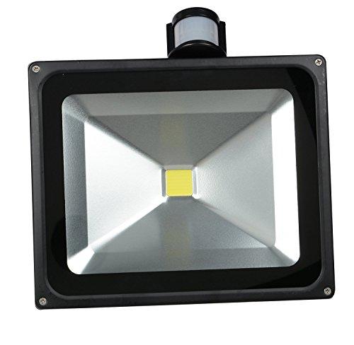 SLPRO® 50W SMD LED Flutlicht Fluter Strahler Außenbeleuchtung Innenbeleuchtung Kaltweiss Kaltweiß IP65 Wasserdicht mit Bewegungsmelder für Garten Haustür usw. Gehäuse schwarz