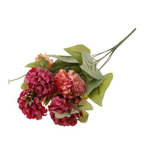 MagiDeal Künstlich Blumen 7 Köpfe Chrysantheme Ball Künstliche Blume Blumenstrauß Für Hochzeit Party Fest Haus Büro Bar Dekor - Rosa, 8cm - Kopf-tisch-mittelstücke