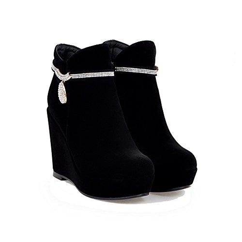 AllhqFashion Damen Hoher Absatz Knöchel Hohe Reißverschluss Stiefel mit Wasser Diamanten Schwarz