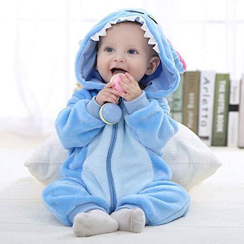 Kinder Unisex Onesies Pyjamas Mädchen Jungen Flanell Tier Sleepsuit Nachtwäsche Hoodie Halloween Kostüm Kleidung, Xmas Onesie Cosplay Party,Bluestar,80 (Einfach 80's Halloween Kostüme)