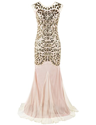 PrettyGuide Damen 1920s Schwarz Pailletten Gatsby Bodenlangen Abendkleid XL meerjungfrau Gold beige