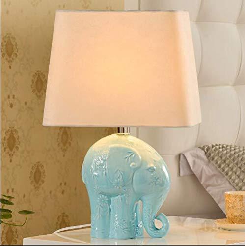 AYFC Elefante Lámpara de mesa de cerámica Nuevo dormitorio de cerámica chino Lámpara de la cabecera Minimalista moderna Sala de estudio de la decoración del hotel estudio americano moderno, interrupto