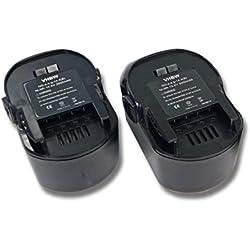 Lot 2 batteries Ni-MH vhbw 3000mAh (14.4V) pour outils AEG BBM 14 STX-R. Remplace: AEG 4935413106, 4935416790, B1414G, B1415R.