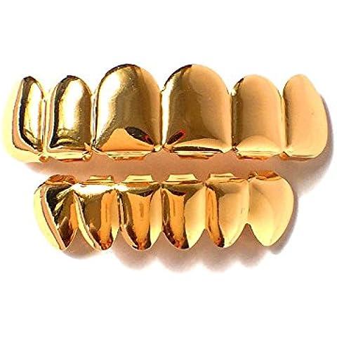 Nuevo estilo 14K chapado en oro Hip Hop dientes Grillz superior e inferior boca parrillas extraíbles Custom Fit Cap