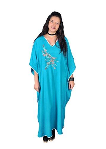 Damen Kaftan Kleid im Butterfly Look Sommer Urlaub Hauskleid (Türkis-grün)