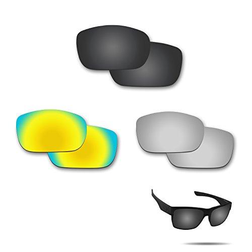 Fiskr Anti-Saltwater Polarisierte Ersatz Gläser für Oakley Twoface Sonnenbrille 3Paar Pack, Stealth Black & Metallic Silver & 24K Gold