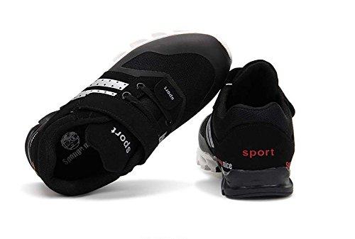 Wealsex Baskets Sneakers Basses Mesh PU Cuir Chaussures de Sport Running Compétition Entrainement Mixte Enfant Garçon Fille Noir
