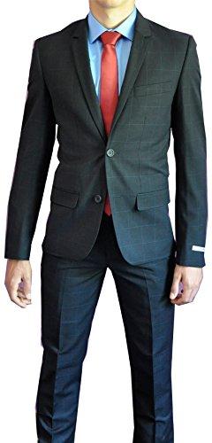 Kostüm Herren Slim Fit Karo Blau