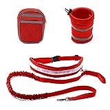 WangQ guinzaglio dell'animale Domestico, Riflettente di Nylon Cintura Regolabile guinzaglio del Cane Domestico Elastico for Camminare guinzaglio (Color : Red, Size : 144-200cm)
