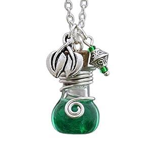 Katharina Fairytale Schutzamulett Damen Mädchen Kette Phiole Elixier der Hexe Mandragora Amulett Talisman Anhänger Blatt Zierperle grün